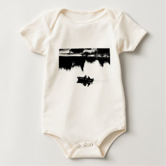 Small Fishing Boat in Pen and Ink Baby Bodysuit