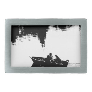 Small Fishing Boat in Pen and Ink Belt Buckle