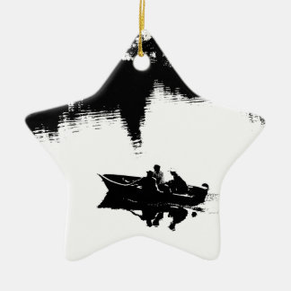 Small Fishing Boat in Pen and Ink Ceramic Star Decoration