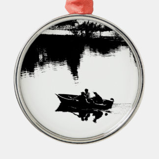 Small Fishing Boat in Pen and Ink Silver-Colored Round Decoration