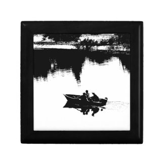 Small Fishing Boat in Pen and Ink Small Square Gift Box