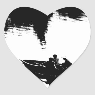 Small Fishing Boat in Pen and Ink Heart Sticker
