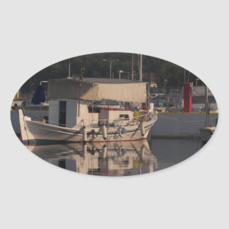 Small Fishing Boat Oval Sticker