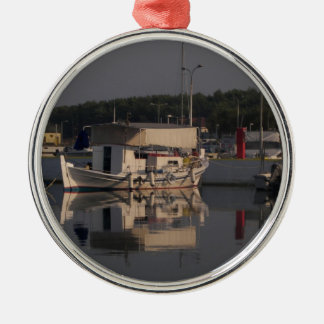 Small Fishing Boat Silver-Colored Round Decoration