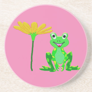 small frog and yellow flower coaster