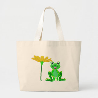 small frog and yellow flower large tote bag