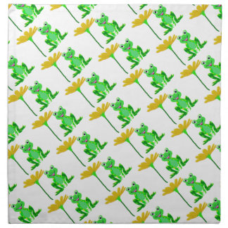 small frog and yellow flower napkin
