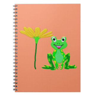 small frog and yellow flower notebook