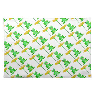 small frog and yellow flower placemat