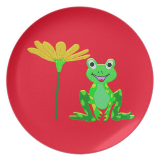 small frog and yellow flower plate