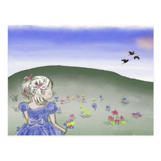 Small girl, drawing, postcard