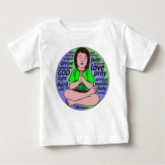 Small girl praying and meditating,sitting on earth baby T-Shirt