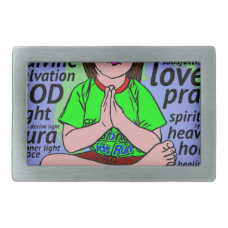 Small girl praying and meditating,sitting on earth belt buckles