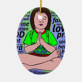 Small girl praying and meditating,sitting on earth ceramic ornament