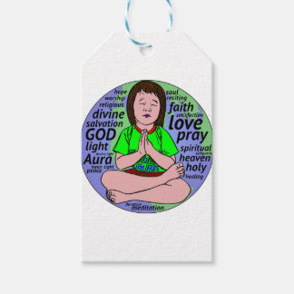 Small girl praying and meditating,sitting on earth gift tags