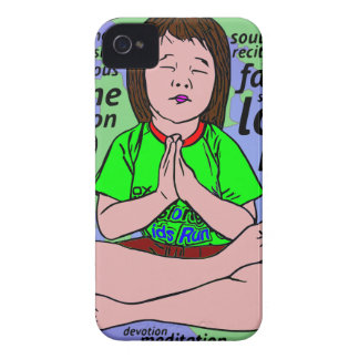 Small girl praying and meditating,sitting on earth iPhone 4 covers