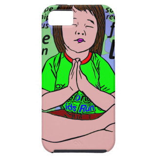 Small girl praying and meditating,sitting on earth iPhone 5 covers