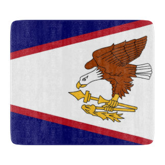 Small glass cutting board flag of American Samoa