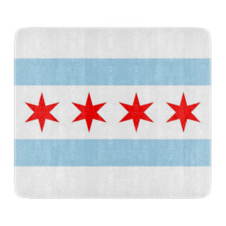 Small glass cutting board with flag of Chicago