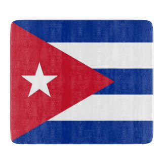 Small glass cutting board with flag of Cuba