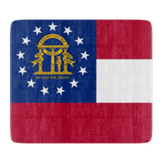 Small glass cutting board with flag of Georgia