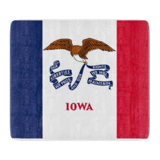Small glass cutting board with flag of Iowa