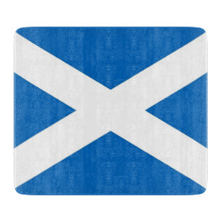 Small glass cutting board with flag of Scotland