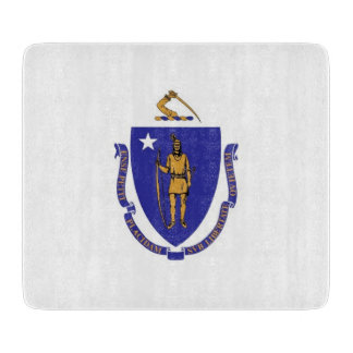 Small glass cutting board with Massachusetts flag