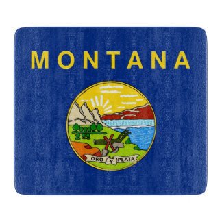 Small glass cutting board with Montana flag