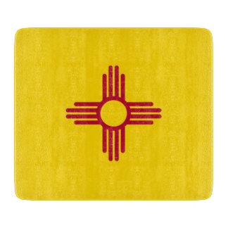 Small glass cutting board with New Mexico flag
