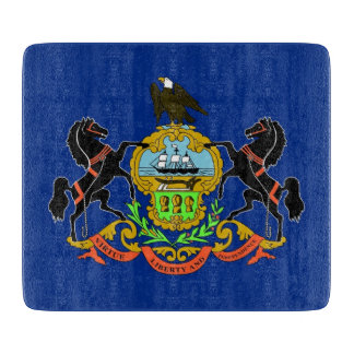 Small glass cutting board with Pennsylvania flag