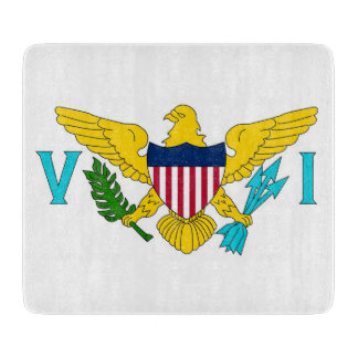 Small glass cutting board with Virgin Islands flag