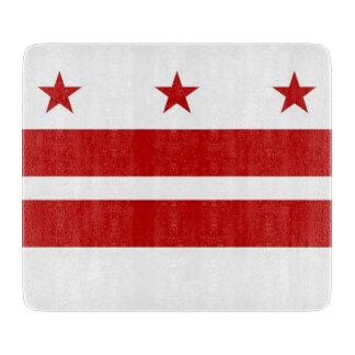 Small glass cutting board with Washington DC flag