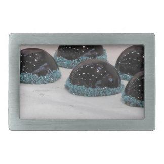 Small glazed chocolate cakes with hazelnut grains rectangular belt buckles