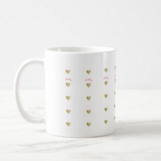 small gold love hearts with name coffee mug