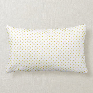 Small Gold Watercolor Polka Dot Pattern Lumbar Pillow