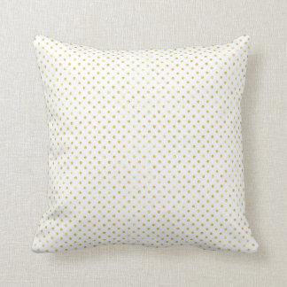 Small Gold Watercolor Polka Dot Pattern Throw Pillow