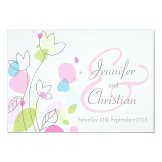 Small graphic modern flower petals wedding invite