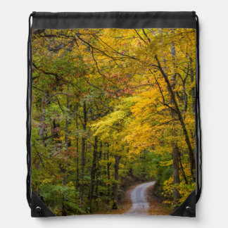 Small Gravel Road Lined With Autumn Color Drawstring Bags
