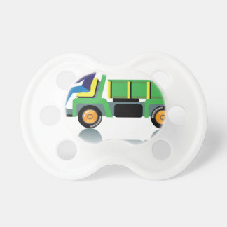 Small green utility truck baby pacifiers