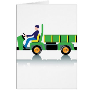 Small green utility truck greeting card