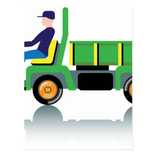 Small green utility truck postcard