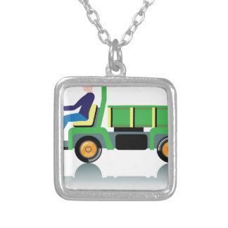 Small green utility truck square pendant necklace