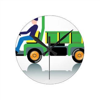 Small green utility truck wallclocks