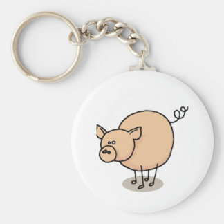 Small Gro-Gro pig Basic Round Button Key Ring