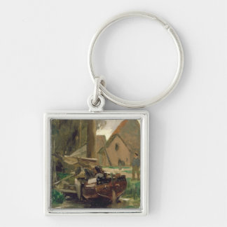 Small Harbour with a Boat Key Chains