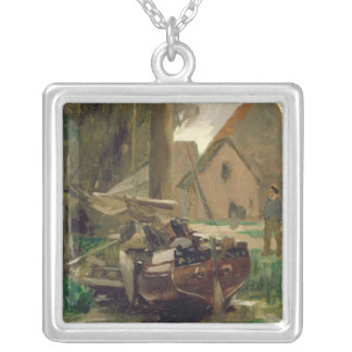 Small Harbour with a Boat Square Pendant Necklace