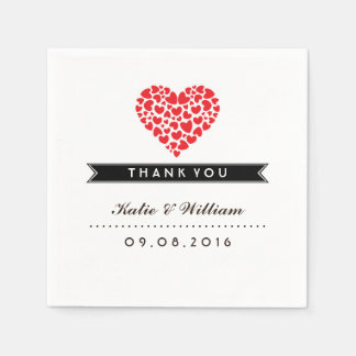 Small Hearts and Red Love Paper Napkin for Wedding
