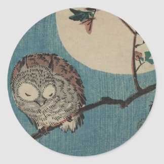 Small Horned Owl on Maple Branch under Full Moon Round Sticker