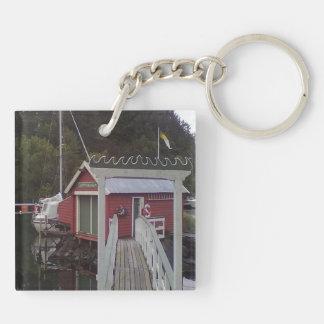 small house and sea jpg key chain